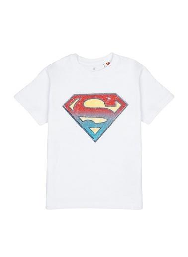 Mavi Superman Logo Baskılı  Tişört Beyaz